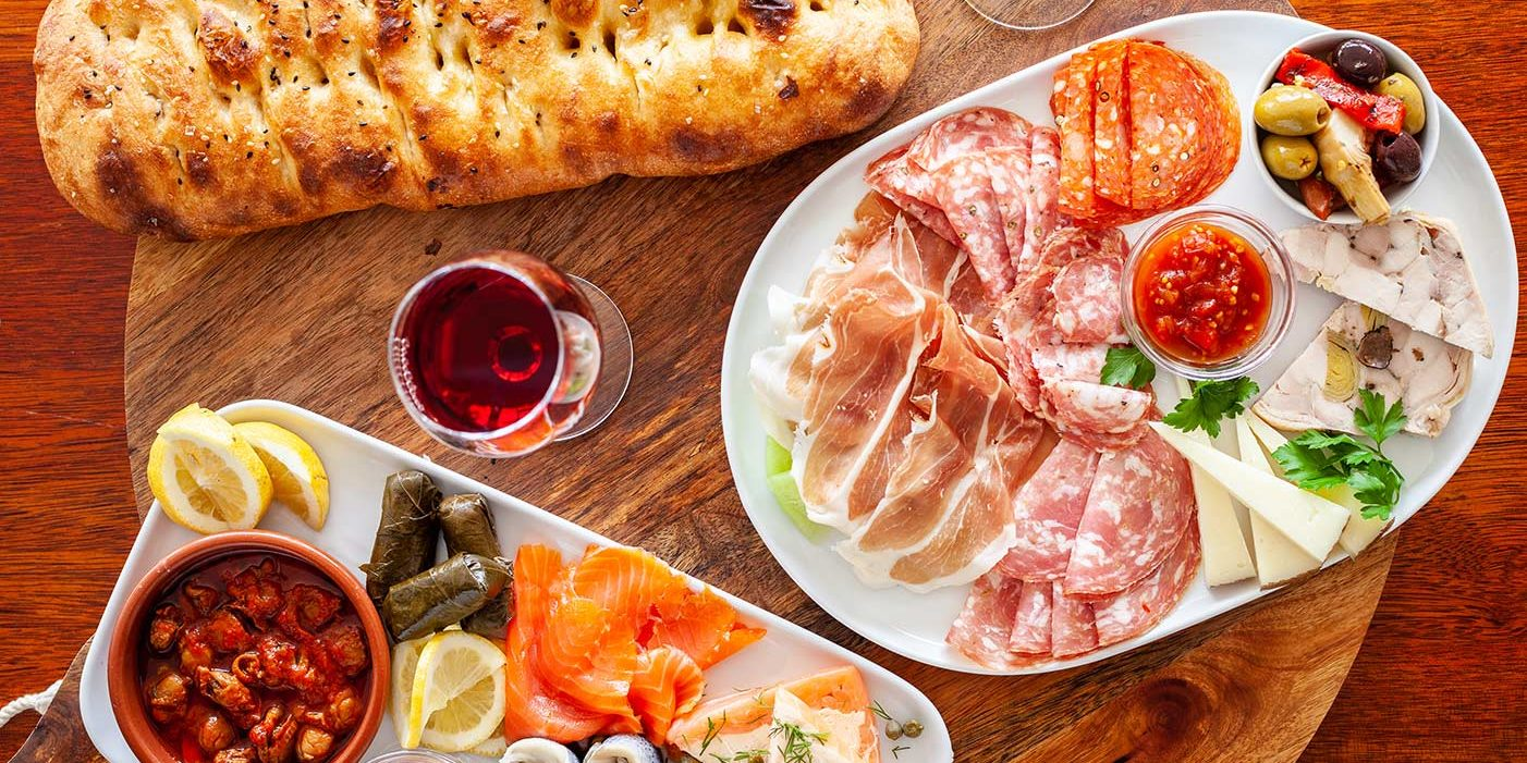 Food Platter with Red and White Wine